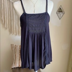 American Eagle Outfitters lace tank top navy blue
